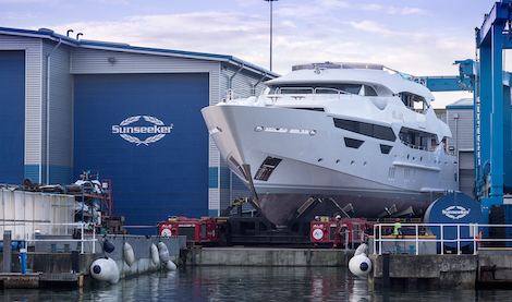 Image for article Second Sunseeker 155 emerges from construction shed