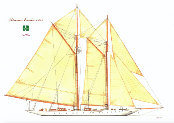 Image for article 'Invader', the 1905-built schooner, listed for sale