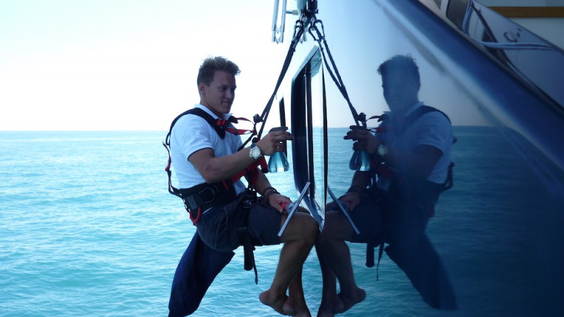 Superyacht safety - crewmember cleaning