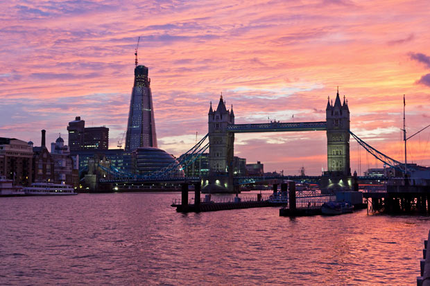 Tower Bridge, Thames and The Shard in London sunset
