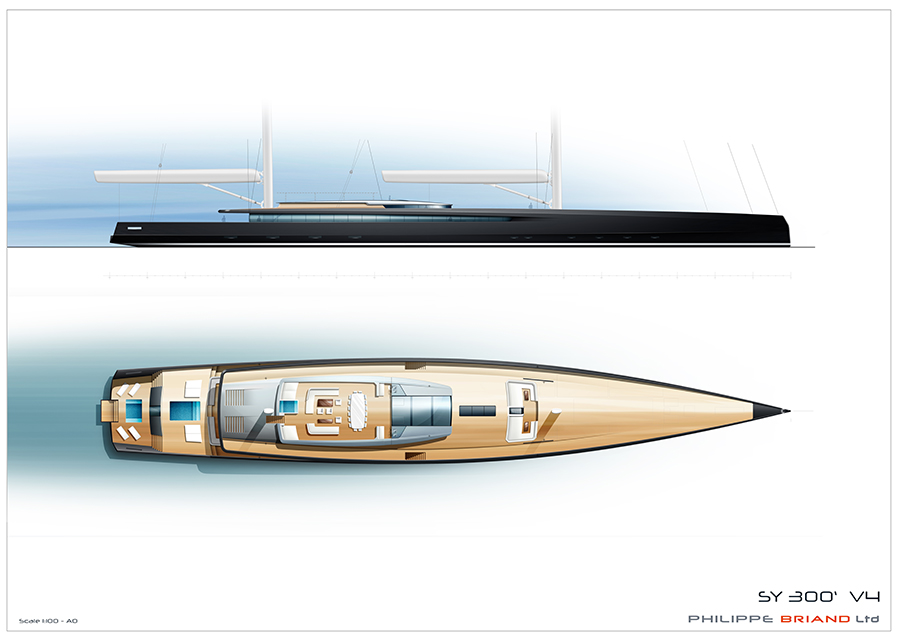 Image for article Philippe Briand unveils 90m self-sufficient sailing yacht