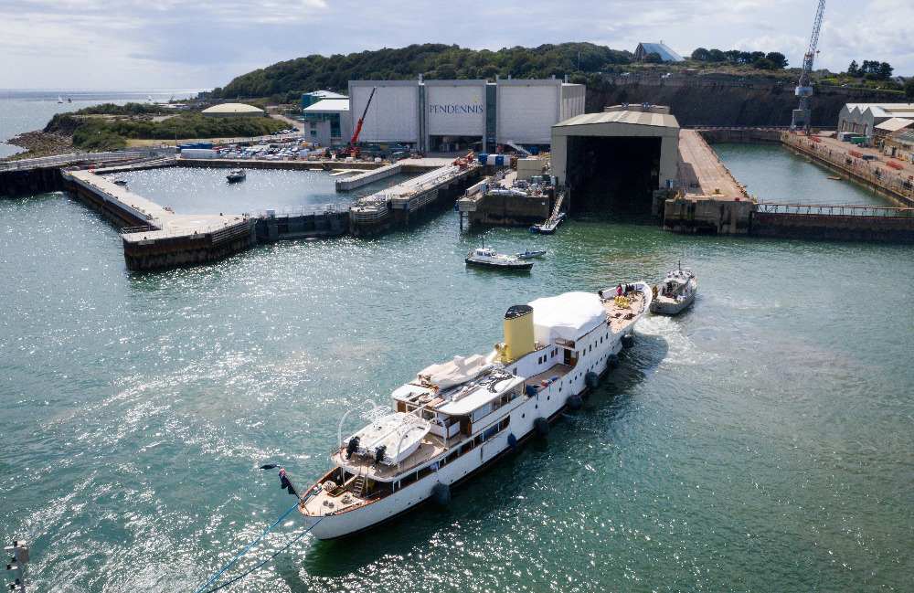 Image for article M/Y 'Marala' arrives at Pendennis for major restoration