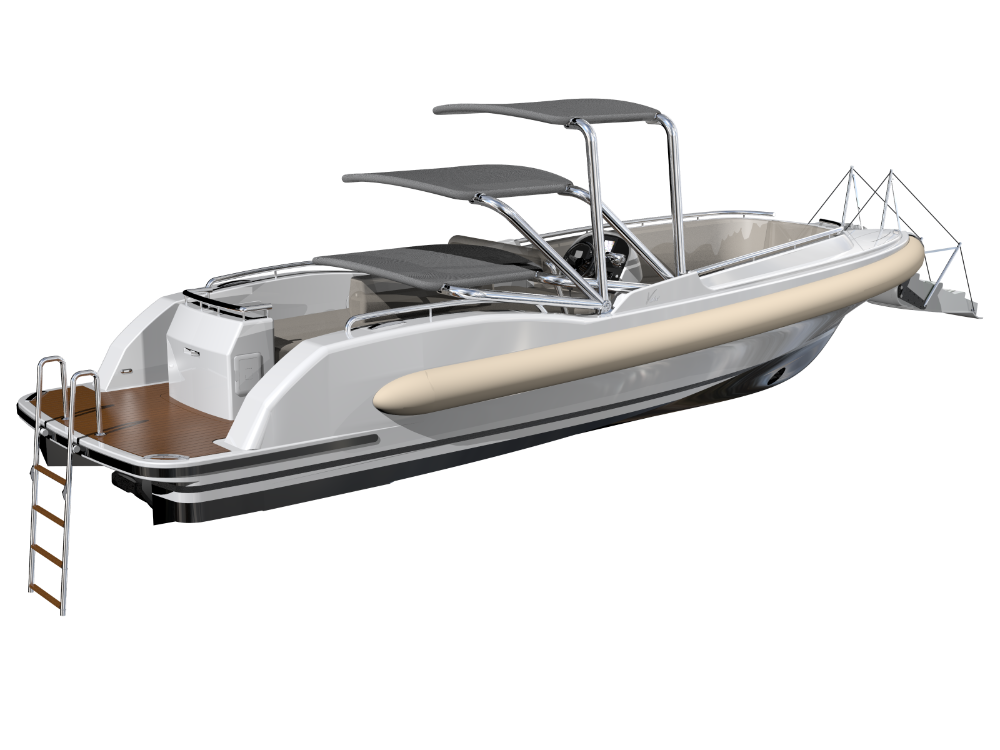 Image for article Vikal's D-RIB tender with actuated bimini rooftop