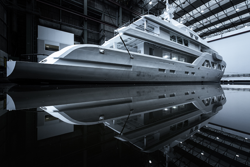 Image for article First Amels 60 hull begins outfitting phase